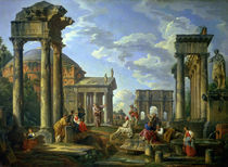 Roman Ruins with a Prophet von Giovanni Paolo Pannini or Panini