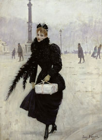 Parisian woman in the Place de la Concorde by Jean Beraud