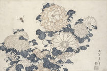 Bee and chrysanthemums by Katsushika Hokusai