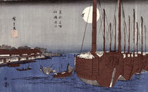 Tsukudajima island and the Fukagawa district under the full moon by Ando or Utagawa Hiroshige