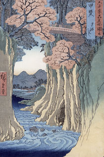 The monkey bridge in the Kai province by Ando or Utagawa Hiroshige