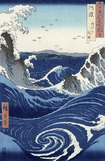 View of the Naruto whirlpools at Awa by Ando or Utagawa Hiroshige