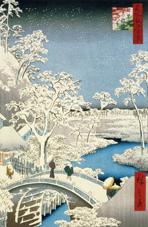 Drum bridge and Setting Sun Hill at Meguro by Ando or Utagawa Hiroshige