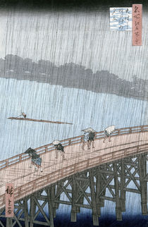 Sudden Shower over Shin-Ohashi Bridge and Atake  by Ando or Utagawa Hiroshige