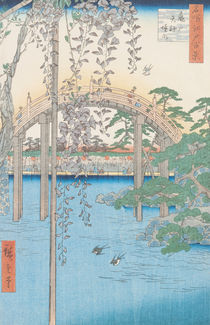 The Bridge with Wisteria or Kameido Tenjin Keidai by Ando or Utagawa Hiroshige