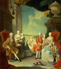 Maria Theresa and her Husband at the staircase leading from the Great Hall of Schloss Schonbrunn into the large courtyard von Martin II Mytens or Meytens