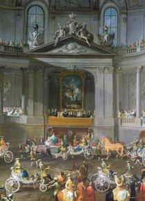 A Cavalcade in the Winter Riding School of the Vienna Hof to celebrate the defeat of the French Army at Prague showing the equestrian portrait of Emperor Charles VI von Martin II Mytens or Meytens