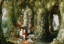 A Fantastic cave with Odysseus and Calypso  by Jan Brueghel the Elder