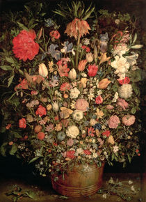 Large bouquet of flowers in a wooden tub by Jan Brueghel the Elder