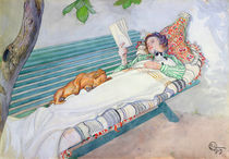 Woman Lying on a Bench von Carl Larsson