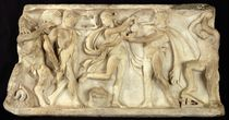 Fragment of a sarcophagus depicting satyrs and a maenad  by Greek