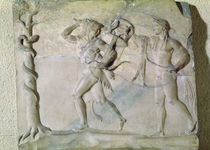 Tablet depicting Hercules carrying off the Delphic Tripod in front of Apollo  by Greek