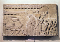 Relief depicting Dionysus at the home of Icarius by Greek