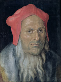 Portrait of a Bearded Man in a Red Hat von Albrecht Dürer