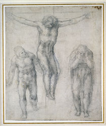 Study of a Crucified Christ and two figures by Michelangelo Buonarroti