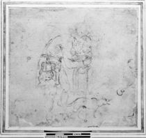 Sketch with a figure and a dog  von Michelangelo Buonarroti