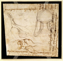 Page from a sketchbook with figure studies and notes  by Michelangelo Buonarroti