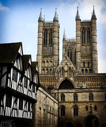 Lincoln Cathedral with Tudor Building by Darren Hendley