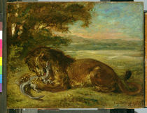 Lion and Alligator by Ferdinand Victor Eugene Delacroix