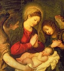 Madonna and Child with Two Angels  by Titian