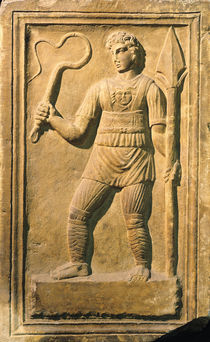 Relief depicting a gladiator holding a whip and a spear  by Roman