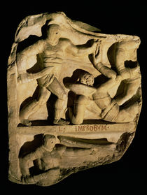 Relief depicting a samnite defeating a retiarius  by Roman