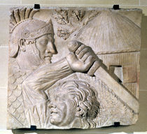 Relief depicting a Barbarian fighting a Roman legionary  by Roman