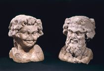 Head of Bacchus and a satyr from a hermatic pillar  by Roman