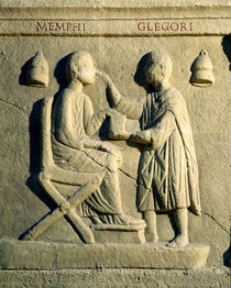 Relief depicting an oculist examining a patient  by Roman