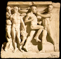 Relief depicting wrestlers  by Roman