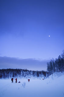 Skiing In The Moonlight. by Tom Hanslien