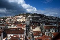 Looking across Lisbon, Portugal to the Castelo de S. Jorge by bob bingenheimer