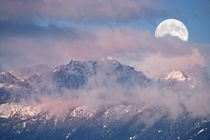 Full Moon Set over Mt Constance by Ed Book