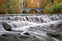 Stone Bridge And Waterfall In Autumn by Paul Lemke
