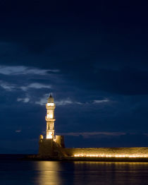 Chania Harbor Lighthouse by David Maher