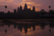 Angkor Wat - Classic Red Sky Reflection by Russell Bevan Photography