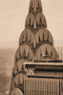 New York City Chrysler Building Roof Sepia by Ian C Whitworth