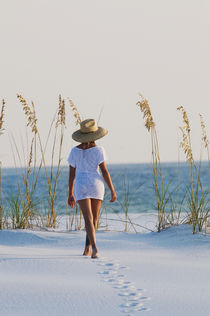 Young woman on White Sand Beach, Florida by Melissa Salter