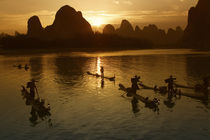 Bamboo rafts on the Li River at sunset, Yangshuo, Guangxi Province, China by Danita Delimont