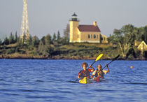 Sea Kayakers in Lake Superior near Copper Harbor UP Michigan,  MR by Danita Delimont