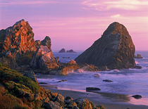 USA, Oregon, Harris State Beach, Brookings. Sea stacks at sunset. Credit as by Danita Delimont