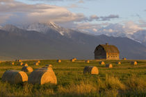 Old barn framed by hay bales and dramatic Mission Mountain Range in Montana by Danita Delimont
