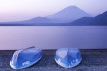 Asia, Japan, Yamanashi, Rowboats on Motosu Lake with Mt. Fuji in the Background by Danita Delimont