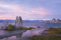 CA, Mono Lake Tufa State Reserve, South Tufa Area, Tufas and Mono Lake at sunset von Danita Delimont