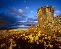 South America, Peru, near Lake Titicaca. Ancient Inca tomb at sunset. Credit as by Danita Delimont