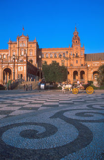 Horse drawn carriage in the Plaza de Espana in Seville by Danita Delimont