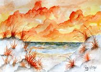 orange beach fall painting by Derek McCrea