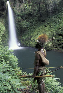 Asia, Papua New Guinea, Highland territory. Huli Wigman at Ambua Falls by Danita Delimont