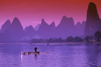 China, Guanxi.  Li river single cormorant fisherman Li river.  Xialong. by Danita Delimont