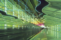 Neon lighting in corridor of the O'hare Airport, Chicago, Illinois by Danita Delimont